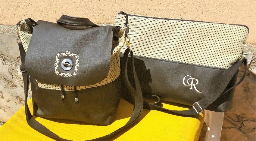 CARIS-Taschen - Handtasche/Rucksack - schwarzes Kunstleder - beiges Alcantara