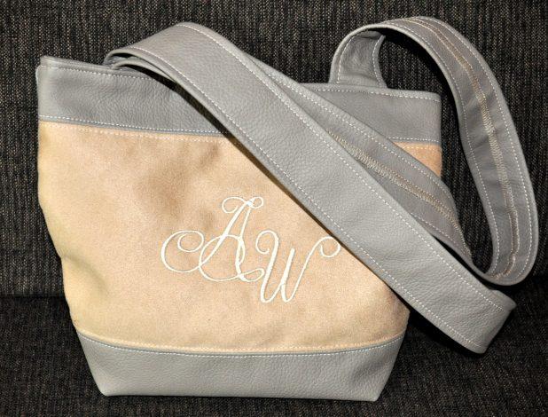 CARIS-Taschen, Schultertasche - schlammfarbenes Kunstleder - beiges Velourleder