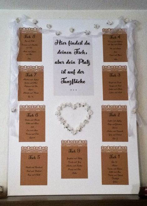 CARIS Nähwerkstatt - Hochzeit - Handlettering Schild Tischordnung